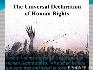 """Article 1 of the Universal Declaration of Human Rights states:""""All human beings"""