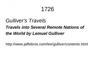 1726 Gulliver's Travels Travels into Several Remote Nations of the World by Lemu
