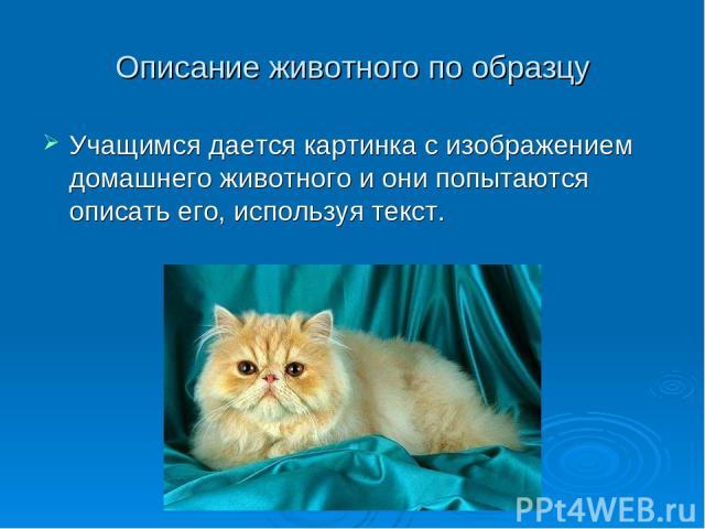 Описание животного по образцу Учащимся дается картинка с изображением домашнего животного и они попытаются описать его, используя текст.