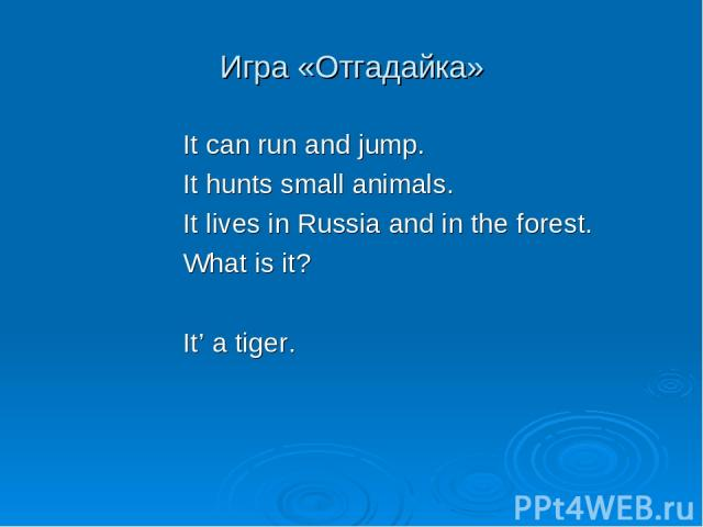 Игра «Отгадайка» It can run and jump. It hunts small animals. It lives in Russia and in the forest. What is it? It' a tiger.
