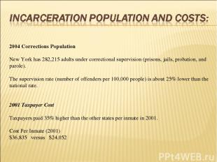 2004 Corrections Population  New York has 282,215 adults under correctional sup