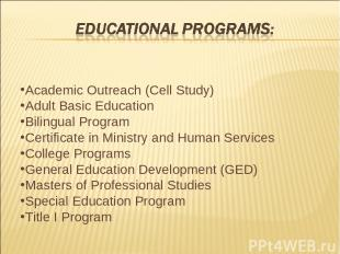 Academic Outreach (Cell Study) Adult Basic Education Bilingual Program Certifica