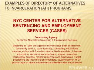 NYC CENTER FOR ALTERNATIVE SENTENCING AND EMPLOYMENT SERVICES (CASES) Supervisin