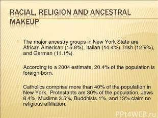 The major ancestry groups in New York State are African American (15.8%), Italia