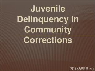 Juvenile Delinquency in Community Corrections