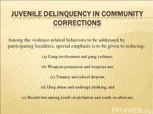 Among the violence-related behaviors to be addressed by participating localities