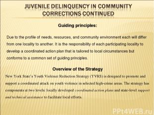 Overview of the Strategy New York State's Youth Violence Reduction Strategy (YVR