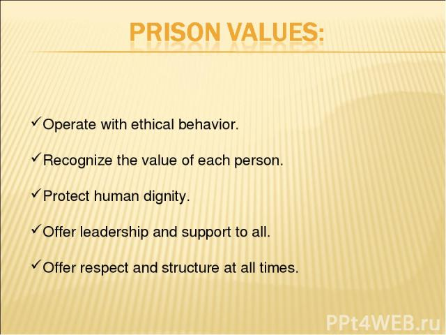 Operate with ethical behavior. Recognize the value of each person. Protect human dignity. Offer leadership and support to all. Offer respect and structure at all times.