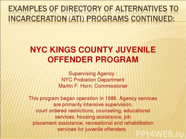 NYC KINGS COUNTY JUVENILE OFFENDER PROGRAM Supervising Agency : NYC Probation Department Martin F. Horn, Commissioner This program began operation in 1986. Agency services are primarily intensive supervision, court ordered restrictions, counseling, …