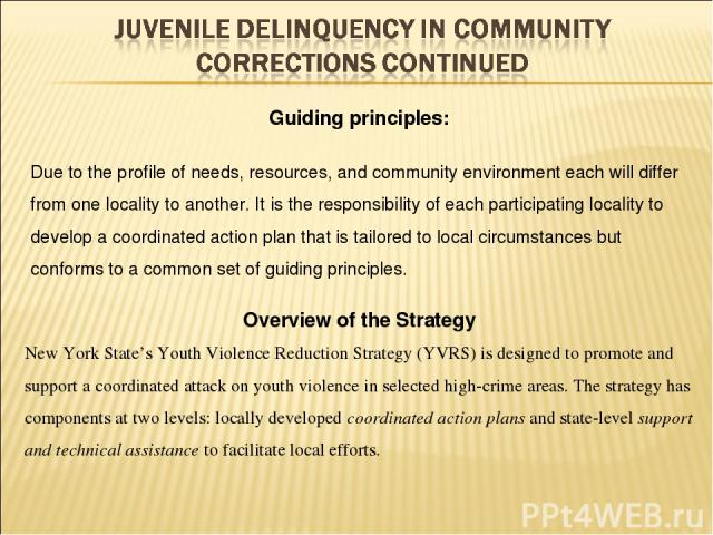 Overview of the Strategy New York State's Youth Violence Reduction Strategy (YVRS) is designed to promote and support a coordinated attack on youth violence in selected high-crime areas. The strategy has components at two levels: locally developed c…