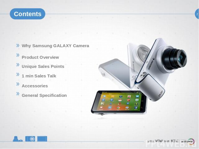 2 Contents Why Samsung GALAXY Camera Product Overview Unique Sales Points 1 min Sales Talk Accessories General Specification