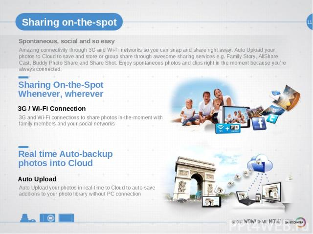 11 Sharing on-the-spot Spontaneous, social and so easy Amazing connectivity through 3G and Wi-Fi networks so you can snap and share right away. Auto Upload your photos to Cloud to save and store or group share through awesome sharing services e.g. F…
