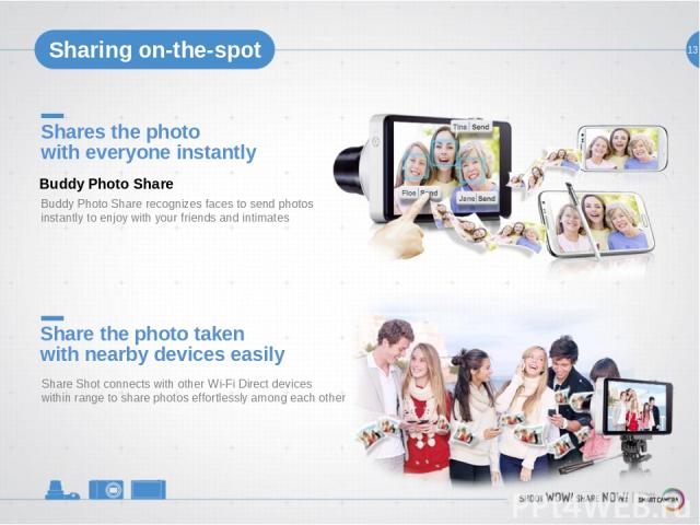 13 Share the photo taken with nearby devices easily Share Shot connects with other Wi-Fi Direct devices within range to share photos effortlessly among each other Shares the photo with everyone instantly Buddy Photo Share recognizes faces to send ph…