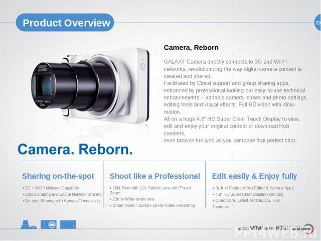 09 Product Overview Camera, Reborn GALAXY Camera directly connects to 3G and Wi-Fi networks, revolutionizing the way digital camera content is created and shared. Facilitated by Cloud support and group sharing apps, enhanced by professional-looking …