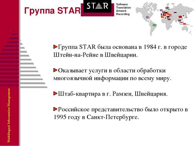 Группа STAR была основана в 1984 г. в городе Штейн-на-Рейне в Швейцарии. Оказывает услуги в области обработки многоязычной информации по всему миру. Штаб-квартира в г. Рамзен, Швейцария. Российское представительство было открыто в 1995 году в Санкт-…