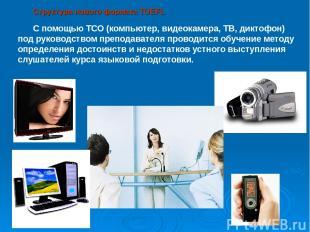 Структура нового формата TOEFL С помощью ТСО (компьютер, видеокамера, ТВ, диктоф