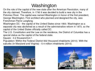 On the role of the capital of the new state after the American Revolution, many