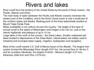 Rivers and lakes River runoff from the territory of the United States by the poo