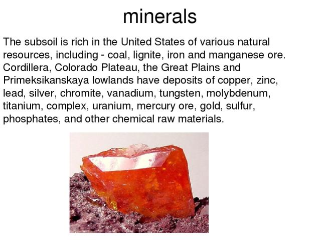 minerals The subsoil is rich in the United States of various natural resources, including - coal, lignite, iron and manganese ore. Cordillera, Colorado Plateau, the Great Plains and Primeksikanskaya lowlands have deposits of copper, zinc, lead, silv…