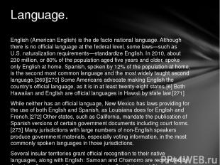 English (American English) is the de facto national language. Although there is