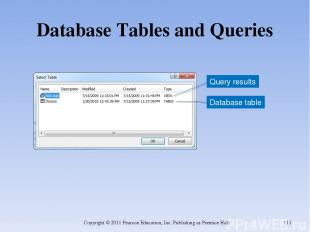 Database Tables and Queries Copyright © 2011 Pearson Education, Inc. Publishing