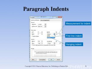 Paragraph Indents Copyright © 2011 Pearson Education, Inc. Publishing as Prentic