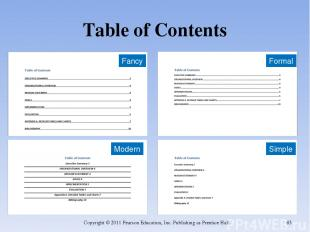 Table of Contents Copyright © 2011 Pearson Education, Inc. Publishing as Prentic