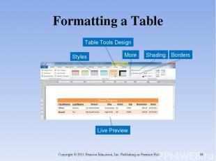 Formatting a Table Copyright © 2011 Pearson Education, Inc. Publishing as Prenti