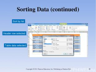 Sorting Data (continued) Copyright © 2011 Pearson Education, Inc. Publishing as