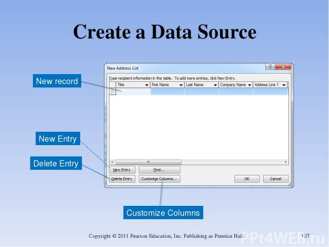 Create a Data Source Copyright © 2011 Pearson Education, Inc. Publishing as Prentice Hall. * Customize Columns New Entry New record Delete Entry Copyright © 2011 Pearson Education, Inc. Publishing as Prentice Hall.