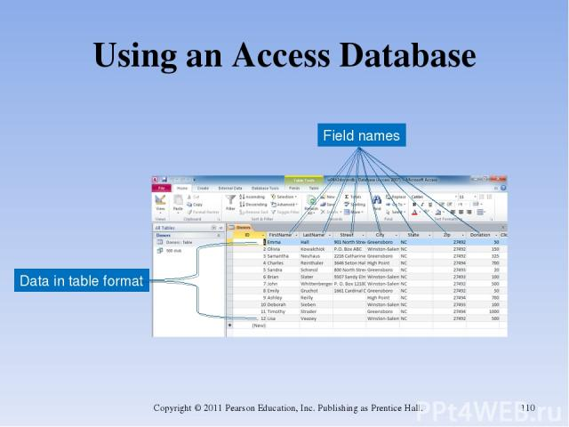 Using an Access Database Copyright © 2011 Pearson Education, Inc. Publishing as Prentice Hall. * Field names Data in table format Copyright © 2011 Pearson Education, Inc. Publishing as Prentice Hall.