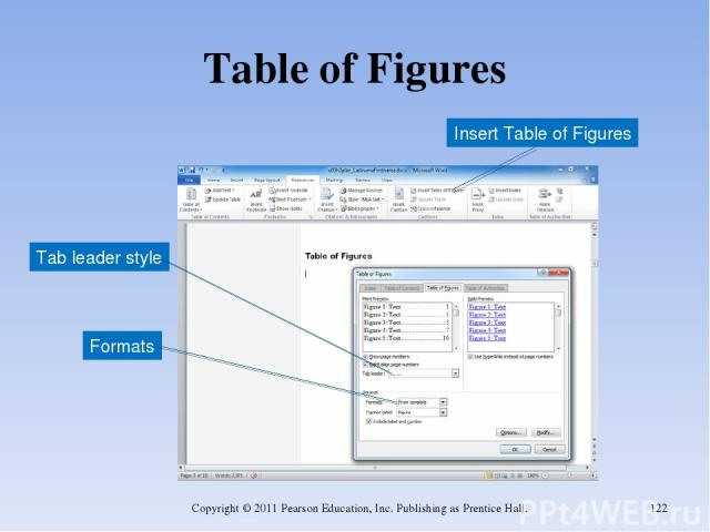 Table of Figures Copyright © 2011 Pearson Education, Inc. Publishing as Prentice Hall. * Insert Table of Figures Tab leader style Formats Copyright © 2011 Pearson Education, Inc. Publishing as Prentice Hall.