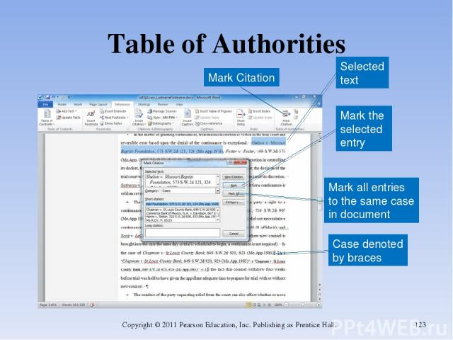 Table of Authorities Copyright © 2011 Pearson Education, Inc. Publishing as Prentice Hall. * Selected text Mark the selected entry Mark all entries to the same case in document Case denoted by braces Mark Citation Copyright © 2011 Pearson Education,…