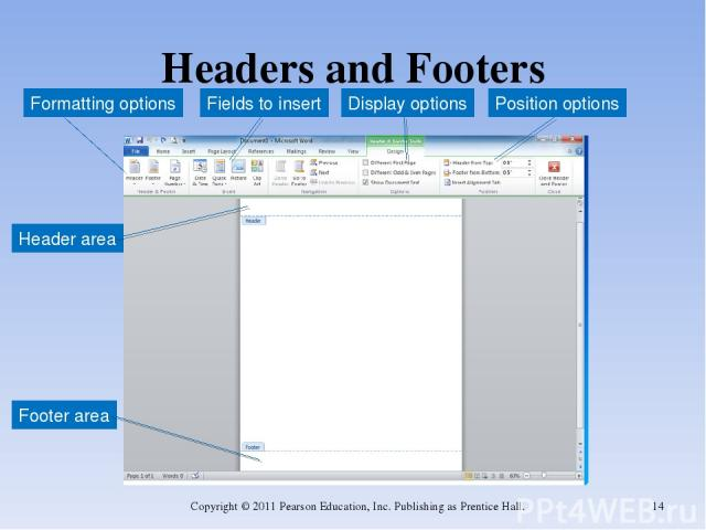 Headers and Footers Copyright © 2011 Pearson Education, Inc. Publishing as Prentice Hall. * Display options Fields to insert Header area Footer area Formatting options Position options Copyright © 2011 Pearson Education, Inc. Publishing as Prentice Hall.