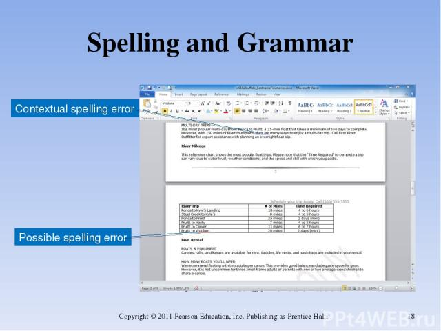 Spelling and Grammar Copyright © 2011 Pearson Education, Inc. Publishing as Prentice Hall. * Contextual spelling error Possible spelling error Copyright © 2011 Pearson Education, Inc. Publishing as Prentice Hall.