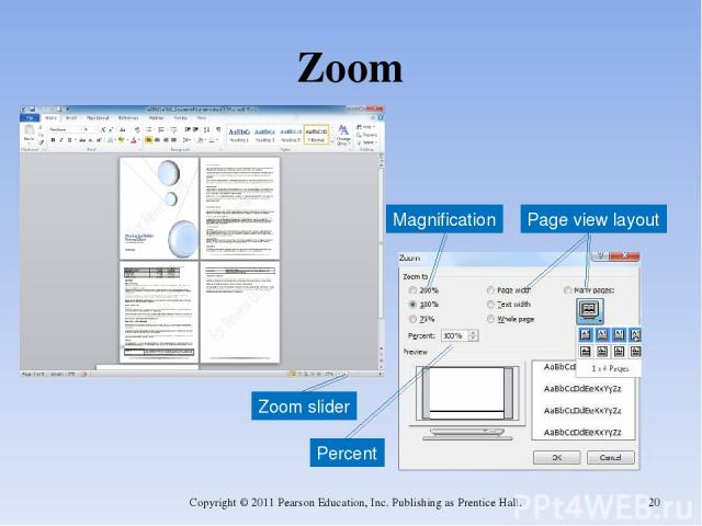 Zoom Copyright © 2011 Pearson Education, Inc. Publishing as Prentice Hall. * Percent Magnification Page view layout Zoom slider Copyright © 2011 Pearson Education, Inc. Publishing as Prentice Hall.