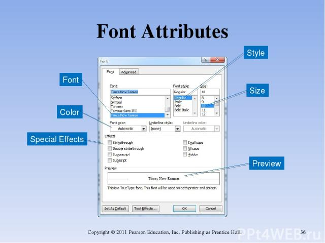 Font Attributes Copyright © 2011 Pearson Education, Inc. Publishing as Prentice Hall. * Size Font Style Color Special Effects Preview Copyright © 2011 Pearson Education, Inc. Publishing as Prentice Hall.