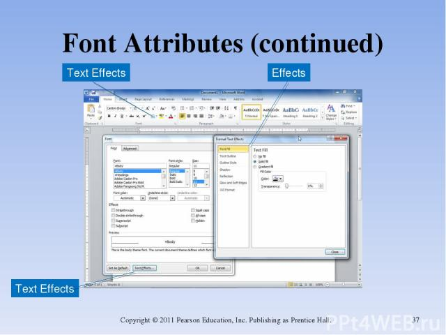 Font Attributes (continued) Copyright © 2011 Pearson Education, Inc. Publishing as Prentice Hall. * Text Effects Text Effects Effects Copyright © 2011 Pearson Education, Inc. Publishing as Prentice Hall.