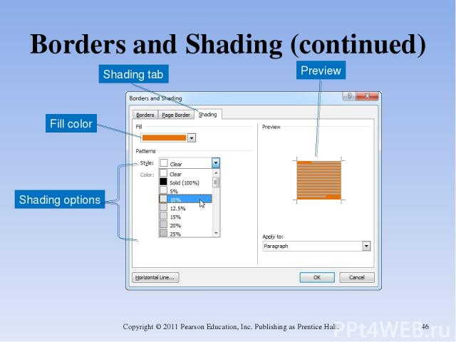 Borders and Shading (continued) Copyright © 2011 Pearson Education, Inc. Publishing as Prentice Hall. * Shading tab Preview Fill color Shading options Copyright © 2011 Pearson Education, Inc. Publishing as Prentice Hall.
