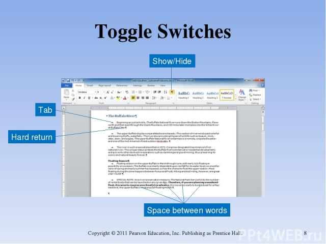 Toggle Switches Copyright © 2011 Pearson Education, Inc. Publishing as Prentice Hall. * Show/Hide Hard return Tab Space between words Copyright © 2011 Pearson Education, Inc. Publishing as Prentice Hall.