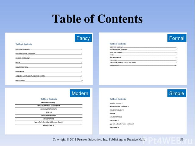 Table of Contents Copyright © 2011 Pearson Education, Inc. Publishing as Prentice Hall. * Fancy Formal Modern Simple Copyright © 2011 Pearson Education, Inc. Publishing as Prentice Hall.