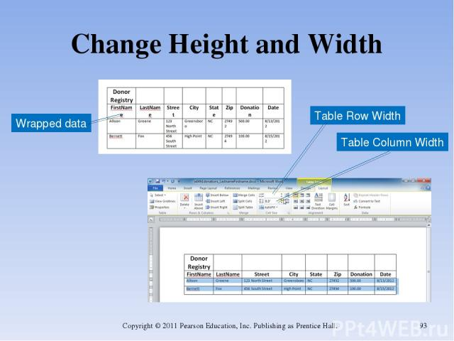 Change Height and Width Copyright © 2011 Pearson Education, Inc. Publishing as Prentice Hall. * Wrapped data Table Column Width Table Row Width Copyright © 2011 Pearson Education, Inc. Publishing as Prentice Hall.