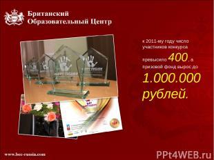 к 2011-му году число участников конкурса превысило 400, а призовой фонд вырос до