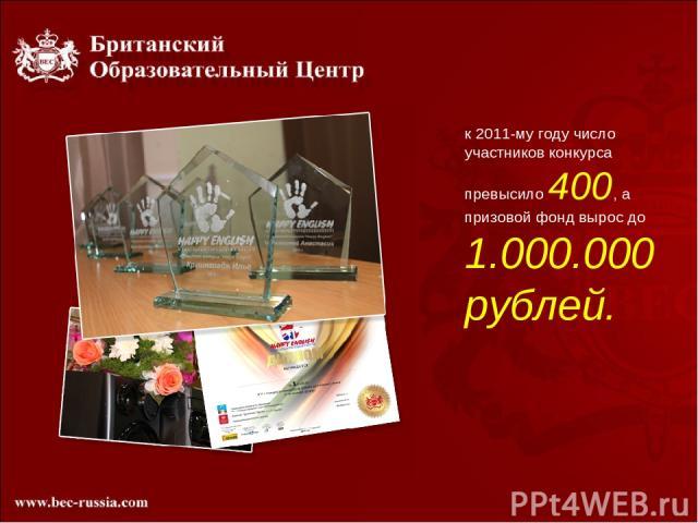 к 2011-му году число участников конкурса превысило 400, а призовой фонд вырос до 1.000.000 рублей.