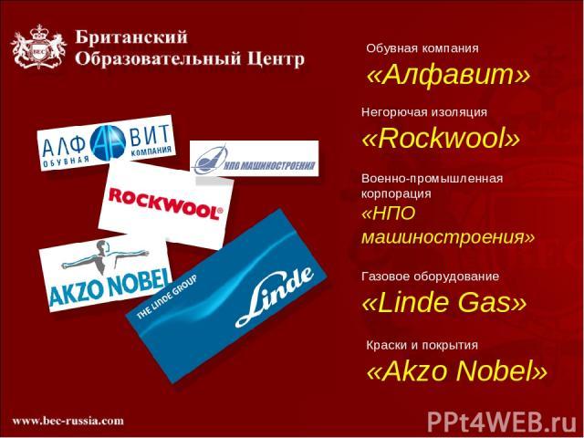 Обувная компания «Алфавит» Негорючая изоляция «Rockwool» Военно-промышленная корпорация «НПО машиностроения» Газовое оборудование «Linde Gas» Краски и покрытия «Akzo Nobel»