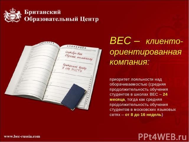 BEC – клиенто-ориентированная компания: приоритет лояльности над оборачиваемостью (средняя продолжительность обучения студентов в школах ВЕС – 24 месяца, тогда как средняя продолжительность обучения студентов в московских языковых сетях – от 8 до 16…