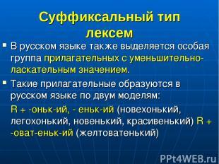 Суффиксальный тип лексем В русском языке также выделяется особая группа прилагат