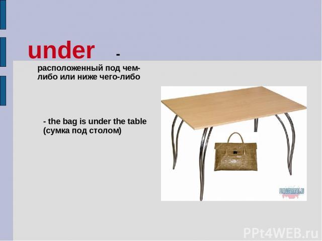under - расположенный под чем-либо или ниже чего-либо - the bag is under the table (сумка под столом)