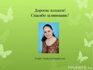 Дорогие коллеги! Спасибо за внимание! E-mail: Funckycity@gmail.com