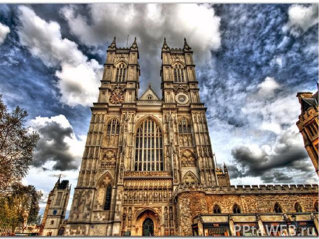 Westminster Abbey Легенды рассказывают, что давным-давно то место, где сейчас стоит архитектурная жемчужина Англии - Вестминстерское аббатство, называлось Ужасным островом. Здесь вдоль реки Темзы тянулись бесконечные болота, поросшие густым кустарни…